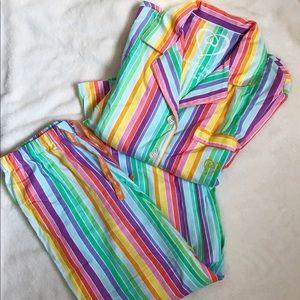 Victoria's Secret Rainbow Flannel Pajamas